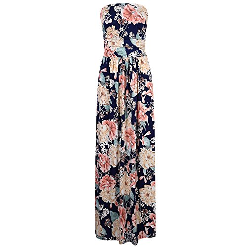 KoJooin Damen Kleider Bandeau Kleid Maxikleid Sommerkleid Blumenmuster mit Taschen Gelb/Rot XL