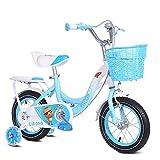 Bicyclehx Kinder Fahrrad mit Trainingsrädern und Kickstand Kind Fahrrad in 12/14/16/18 Zoll Radfahren Kind Geschenk (Color : Blue, Größe : 18 inch)