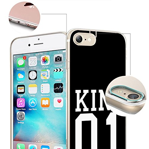 finoo | iPhone 8 Plus Weiche flexible Silikon-Handy-Hülle | Transparente TPU Cover Schale mit Motiv | Tasche Case Etui mit Ultra Slim Rundum-schutz | Cute but psycho King one schwarz