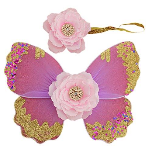 Baby-Foto Requisiten Neugeborene baby fotoshooting Fotografie Kostüm Blumen Stirnband Butterfly Wings - Hell rosa, one size