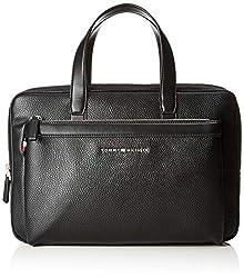 Tommy Hilfiger Herren Th Downtown Slim Computer Bag Laptop Tasche, Schwarz (Black), 5x25.5x38 cm