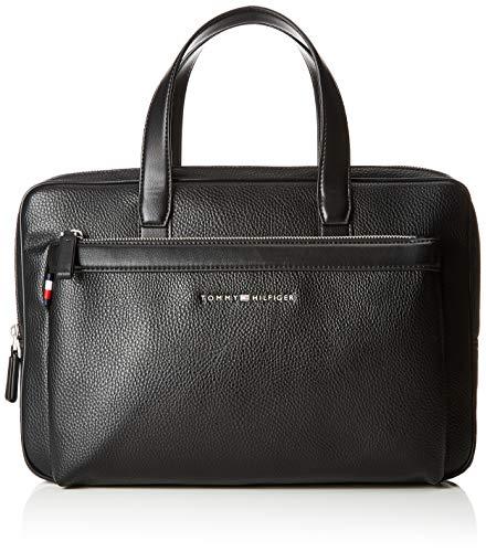 Tommy Hilfiger Herren Th Downtown Slim Computer Bag Laptop Tasche, Schwarz (Black) 5x25.5x38 cm