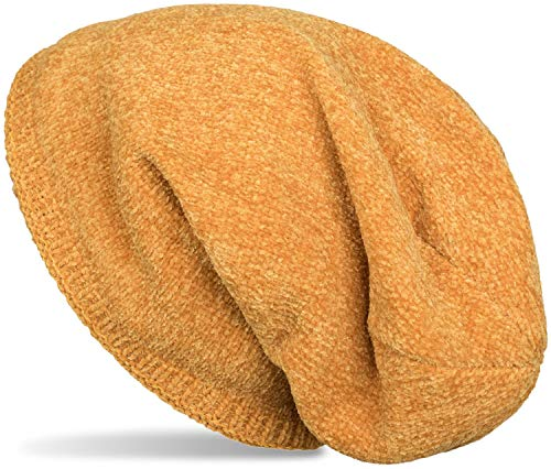 styleBREAKER Unisex Chenille Beanie Mütze einfarbig mit Fleece Futter, Winter Slouch Longbeanie 04024162, Farbe:Curry -