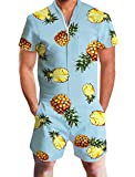 Goodstoworld Jumpsuit Herren Kurz 3D Druck Sommer Zipper Anzug Grandad Shirts Overall Onesie Romper Pineapple Hellblau L