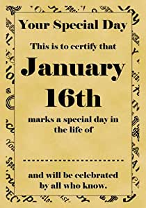 Parchemin Format A4 (certificat spécial jour de mariage Noces de retraite janvier 16e anniversaire