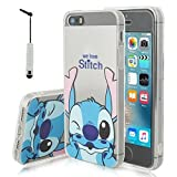 VCOMP Coque silicone TPU Transparente Ultra-Fine Dessin animé jolie pour Apple iPhone 5/ 5S/ SE + mini stylet - Stitch