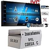 Opel Corsa C Silber - Autoradio Radio JVC KW-M24BT - 2-DIN Bluetooth MP3 USB Autoradio TFT Touch - Einbauzubehör - Einbauset
