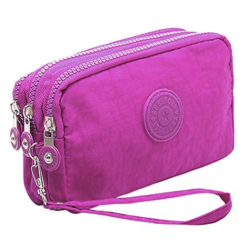 FORLADY Chiusura con cerniera multi-funzione a tre strati nella borsa portafogli da borsa sportiva portatile con portamonete