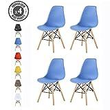 MCC Retro Design Stühle LIA im 4er Set, Eiffelturm inspirierter Style für Küche, Büro, Lounge, Konferenzzimmer etc, 6 Farben, Kult (blau)