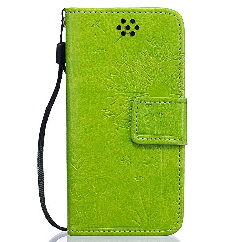 """Rabat Style iPhone 6S Plus Coque Cuir Portefeuille iPhone 6 Plus Case, Les amants et le pissenlit Embossage Motif Belle Mode Housse de Protection pour Apple iPhone 6 Plus 6S Plus 5.5"""" - Bleu Vert"""