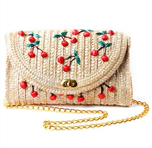 AIWUHE Mädchen Elegant Strohtasche Stroh Tasche Retro korbtasche Schultertaschen Abdeckung Kuriertaschen Sommer Umhängetasche böhmische Seil Handtaschen -