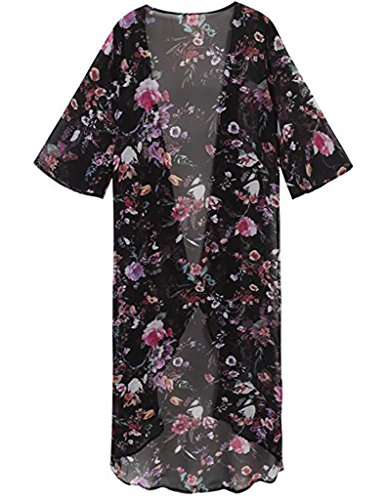 SALICO Frauen-Blumendruck-halbe Hülse Chiffon- Kimono-Wolljacke-langer Sommer-Schwimmen-Strand-Bikini-Badebekleidungs-Abdeckung oben Schwarz