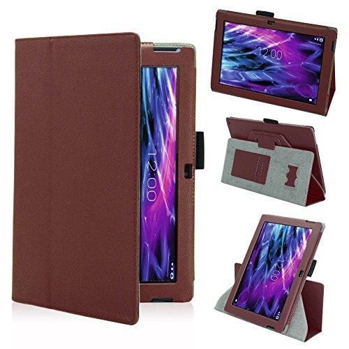 Tasche Hülle für Medion Lifetab S10366 S10365 S10346 Schutzhülle Tablet Cover Case Bag, Farben:Braun
