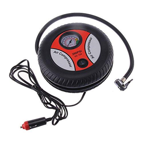 MultiWare Mini Compresseur d'air Electriques Portable d'urgence pour Pneus Bateaux Pneumatiques Et Ballons Outils Auxiliaires Pompe De Gonflage De Voiture Baromètre 260PSI 12V