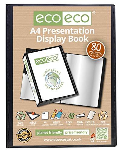 eco-eco - Carpeta de presentación (A4, 50% reciclada, 80 bolsillos), color negro