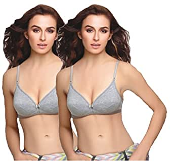 Groversons Torri Non-padded Poly Cotton Bra Twin Pack