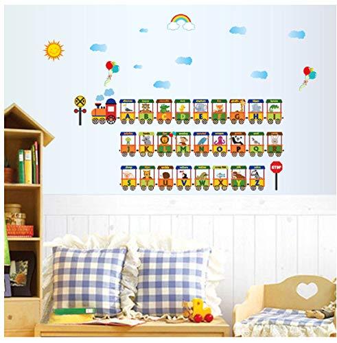 Zug Alphabet Kindergarten Schlafzimmer Wohnzimmer Abnehmbare Wandaufkleber Eco Vinyl Aufkleber Dekorative Wandbild Poster -
