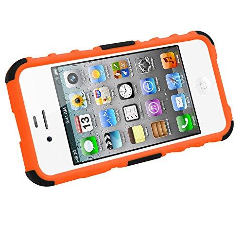 Samrick Dauerhaft Anti-Rutsch-Schock Stoßfest Schutzhülle mit Anzeigen Ständer für Apple iPhone 4/4G/4S grün Orange
