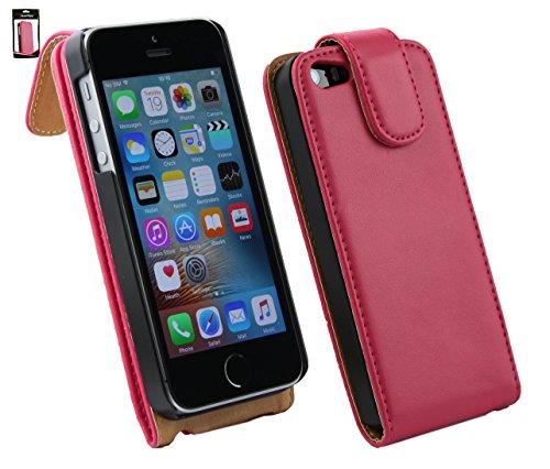 Emartbuy® Apple iPhone SE Brieftaschen Brieftasche Etui Hülle Case Cover aus PU Leder Polka Dots Rot Weiß mit Kreditkartenfächern Hot Rosa Flip Case