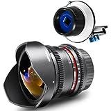 Walimex Pro 18743 - Objetivo de ojo de pez para montura Nikon (con sistema de enfoque Follow Focus, 8mm, f/3,8)