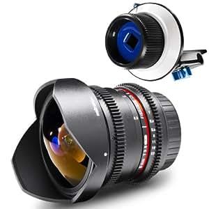 Walimex pro Objectif grand angle VDSLR Fish-Eye II 8mm f/3,8 pour Nikon avec accessoire de mise au point Follow Focus