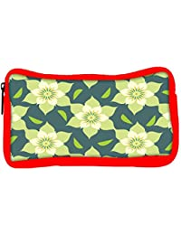 Snoogg Eco Friendly Canvas Yellow Floral Designer Student Pen Pencil Case Coin Purse Pouch Cosmetic Makeup Bag