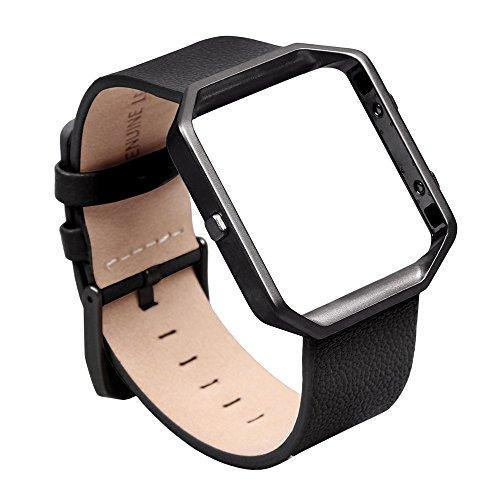 Fitbit BLAZE Band, pelle vera pelle piccolo, v-moro Smart Watch Band strap bracciale cinturino di ricambio con telaio in metallo per Fitbit BLAZE Smart fitness Watch