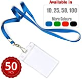 Durably Woven Lanyards & Vertical ID Badge Holders ~ Premium Quality, Waterproof & Dustproof ~ For Mums, Teachers, Tours, Events, Businesses, Cruises & More (50 Pack, Blue) by Stationery King