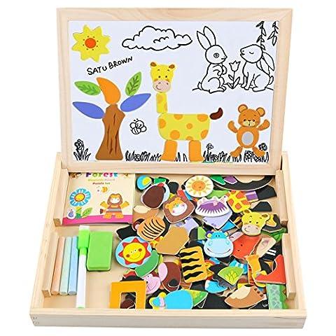 Satu Brown doppelseitiges Holzspielzeug-Set mit Kreidetafel und Magnettafel mit 100 Puzzleteilen, beliebtes Lern-Spielzeug