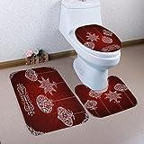 Xshuai Hohe dichte super weiche umwelt Frohe Weihnachten Home Wc Fuß Pad Sitzbezug Heizkörper Kappe Bad Sets (F)
