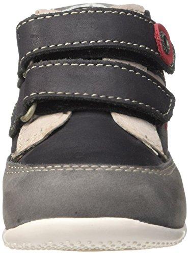 Kickers Baxter, Chaussures Premiers Pas Bébé Garçon Noir (Noir/Gris/Rouge)