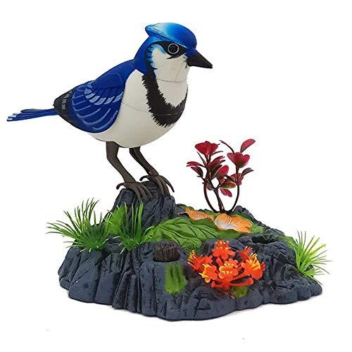 elektronisch, sprechend, wiederholt Papagei, singt und umreißt Sittiche, Vogel mit Bewegungssensor, Aktivierung, Aussprache, elektrische Haustiere, plastik, blau, 14cm x 16cm ()