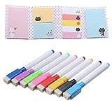 8 Farben Magnetische Whiteboard Marker Stifte mit Radiergummi + 1 Sticky Notes Book