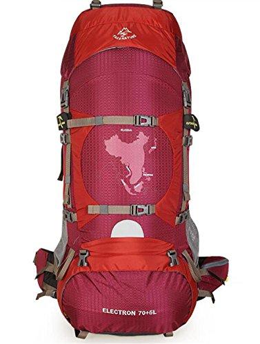 sac à dos randonnée le camping professionnel randonnée hommes et les femmes de sac à dos plein air voyage alpinisme sac à bandoulière étanche 70L Sacs à dos de randonnée ( Couleur : Vin rouge , taille : 75L )