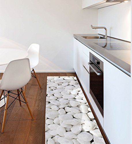 Viva tappeti vista bw06 pebbles tappeto, pvc-poliestere, bianco, 150 x 100 cm