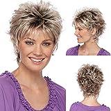 Royal-first - Perruque courte bouclée pour femme - Résistante à la chaleur