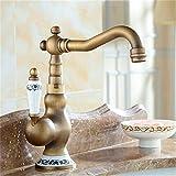 Mronstenlng Grifo Monomando Monomando para Fregadero de baño Grifo de latón Antiguo Grifo Monomando de Agua fría y Caliente SLT065S Brass