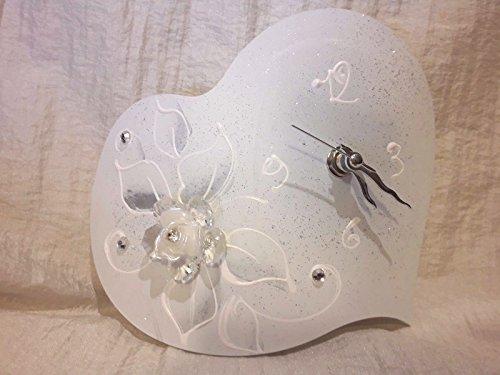 L'angolo barletta orologio cuore fiore cristallo bomboniere moderna matrimonio comunione battesimo