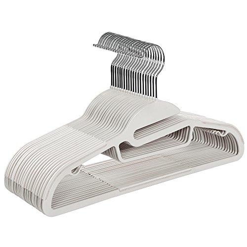 SONGMICS Perchas de Plástico Set de 20 Abertura en Forma de S con Tiras Antideslizantes Gancho Giratorio a 360º para Chaqueta/Camisa/Bufandas/Corbatas 41,5 cm Blanco CRP41W