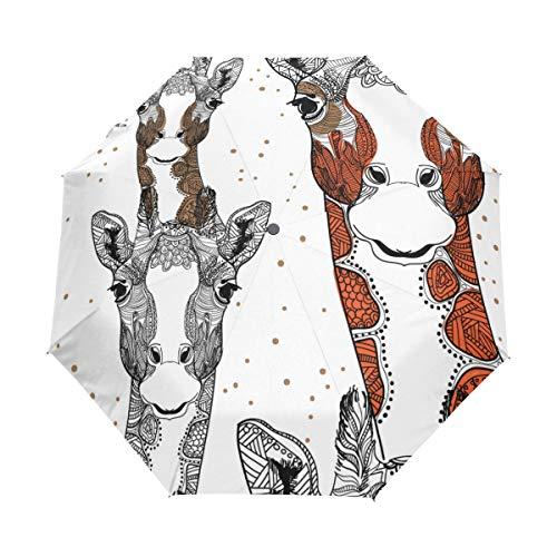 Jeansame Doodle Mandala - Paraguas Plegable para Mujer, diseño de Jirafa
