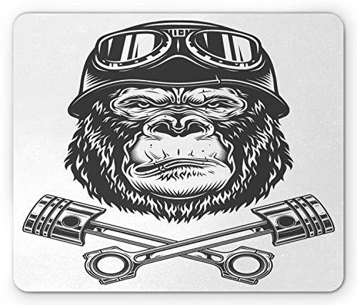 Gorilla-Mausunterlage, Muster des ernsthaften Biker-Orang-Utan-Kopfes im Vintage-Stil mit Schutzbrille und Werkzeugen, rutschfestes Gummi-Mousepad in Standardgröße, dunkelgraues Weiß,Gummimatte 11,8