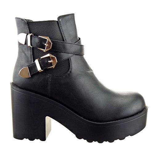 a28ddf2390fb Sopily - Scarpe da Moda Stivaletti - Scarponcini chelsea boots alla  caviglia donna fibbia multi-briglia Tacco a blocco tacco alto 9.5 CM -  soletta sintetico ...