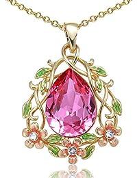 """Angelady """"Blumen-Fee"""" Blumen-hängende Halskette mit rosa Teardrop geformten Schmucksachen, Kristalle von Swarovski"""