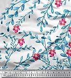 Soimoi Weiß Samt Stoff Blätter, Eule & Blüte Blume Stoff