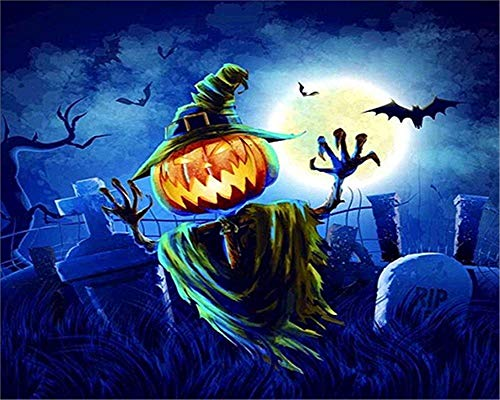 XDXART DIY Ölgemälde Malen nach Nummer Kit für Kinder Erwachsene Anfänger 16x20 Zoll - Halloween Kürbis Licht, Zeichnen mit Pinsel Weihnachtsdekor Dekorationen Geschenke (Ohne Rahmen)