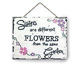 Hanging Wooden Sign Schwester Schild Holz, Schwester Geschenk, Soul Sister Geschenk, Schwestern sind verschiedene Blumen aus dem gleichen Garten Zeichen, Geburtstag Geschenkidee 22,9x 27,9cm.
