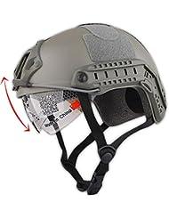 Estilo Militar del ejército táctico SWAT combate tipo MH rápido (L/XL) casco Airsoft caza Paintball CQB Shooting Gear w/Goggle follaje verde FG
