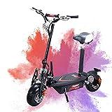 WSJ Klappbarer Elektro-Roller-Tragbar + Erwachsenengewicht + Ausdauer 40KM + Geschwindigkeit 45 KM/H, 48V1500mah Front-Und Heckscheibenbremsen Mit Abnehmbarem Sitz