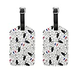COOSUN French Bulldog Luggage Tags Travel Labels Tag Name Card Holder for Baggage Suitcase Bag Backpacks, 2 PCS