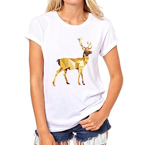 Deer Animal Wood Creature Horns Art Yellow Damen T-Shirt Weiß